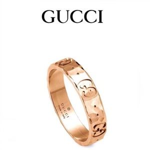 New Gucci 18k Rose Gold GG Hammered Ring Size 8.25